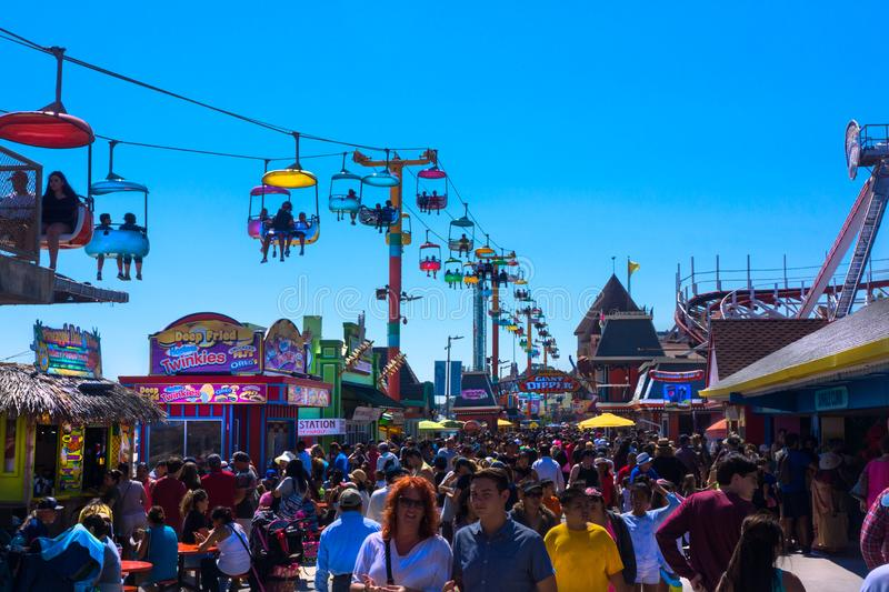 Santa Cruz Boardwalk Crowd stock image
