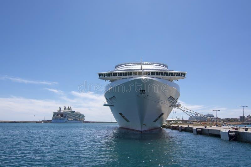 Large cruise ship MSC Fantasia moored Palma harbor royalty free stock photography