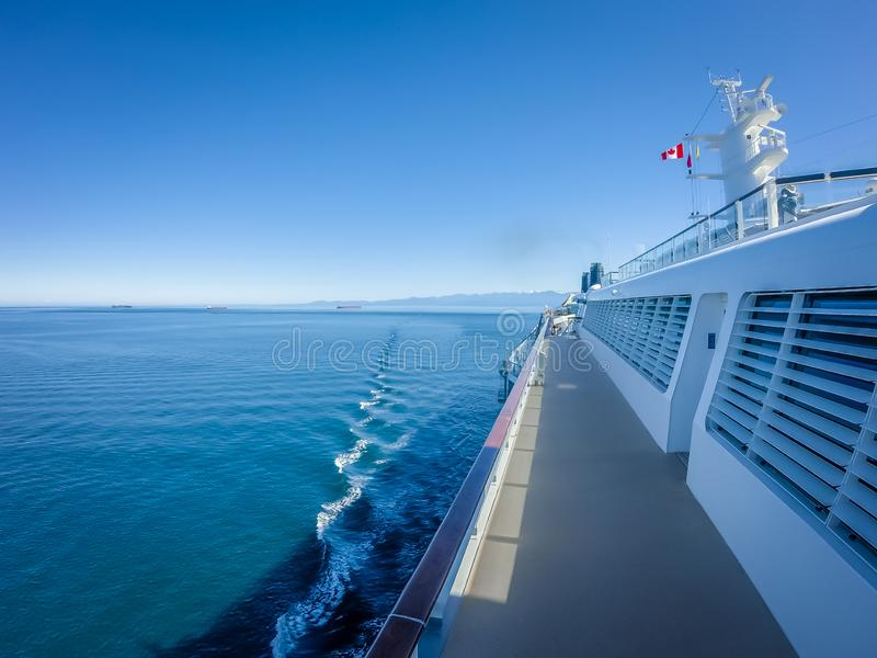 On large cruise ship to alaska in pacific ocean royalty free stock photography