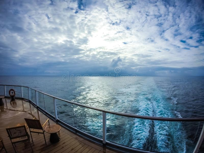 On large cruise ship to alaska in pacific ocean royalty free stock image