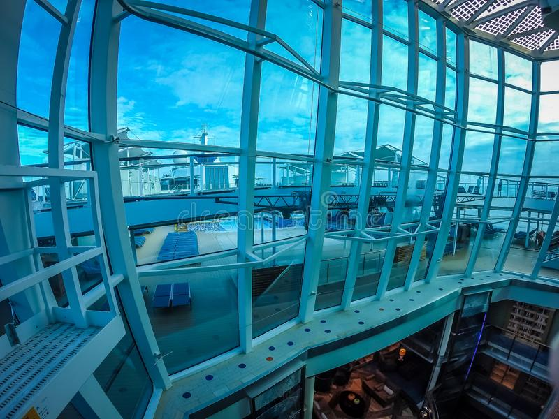On large cruise ship to alaska in pacific ocean royalty free stock photo
