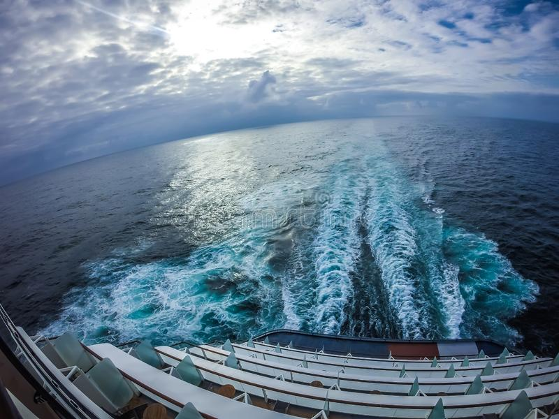 On large cruise ship to alaska in pacific ocean stock photos