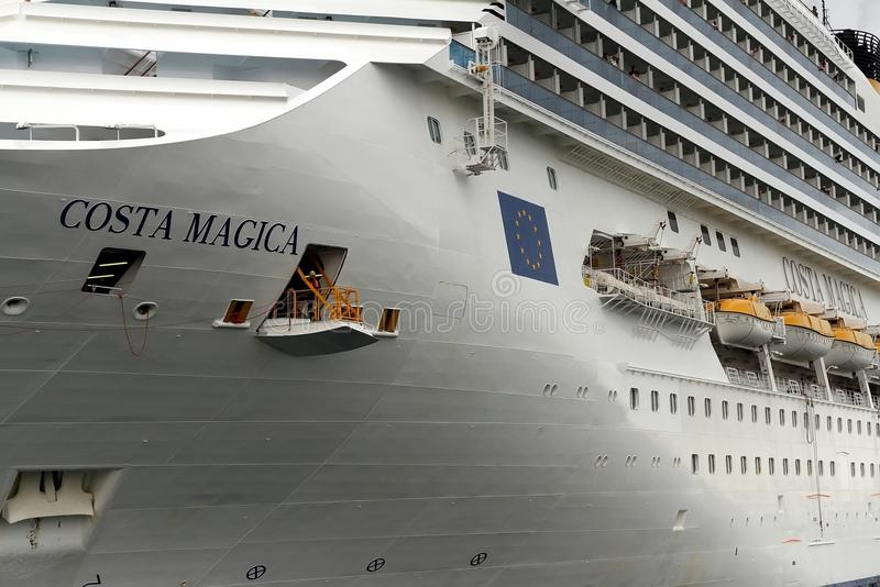 Arrival of modern cruise ship Costa Magica at Alicante harbor. Large cruiseship in the moment of the arrival to the port of Alicante in Spain stock photos