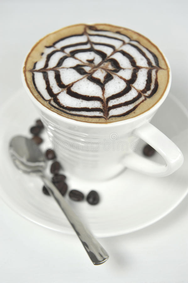 Download Large Cup Of Coffee Decorated With Milk Froth And Chocolate Draw Stock Image - Image: 29029845