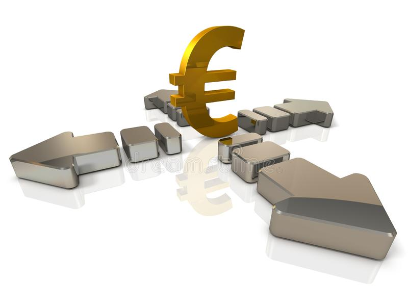 A large currency symbol and an arrow extending in four directions. It implies the difficulty to predict. 3D illustration. White background. Abstract image stock illustration