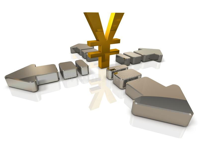 A large currency symbol and an arrow extending in four directions. It implies the difficulty to predict. 3D illustration. White background royalty free illustration