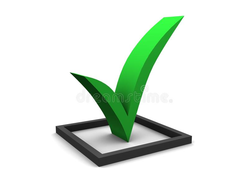 Green Checkmark. A large 3d green check mark stock illustration