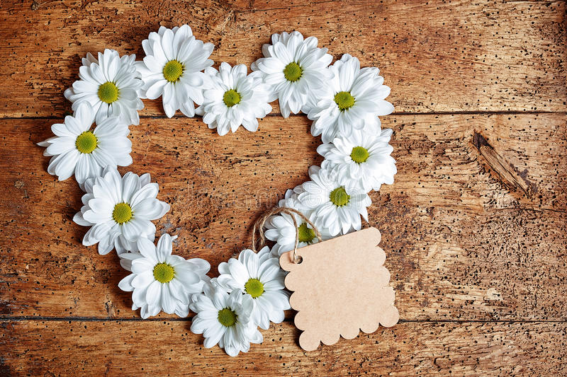 Large daisy flowers in heart shape. Carefully arranged large daisy flowers formed in heart shape with blank cardboard gift tag over old wood background stock image
