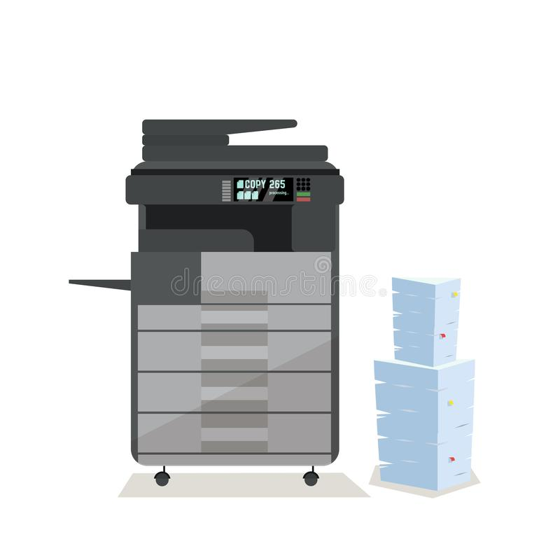 Large dark grey office floor multifunction printer scanner copier with pile of documents in cardboard boxes. on white background. Large grey office floor royalty free illustration