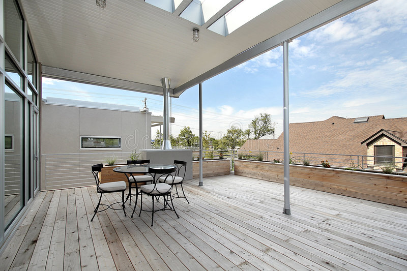 Large deck off of master bedroom stock photo