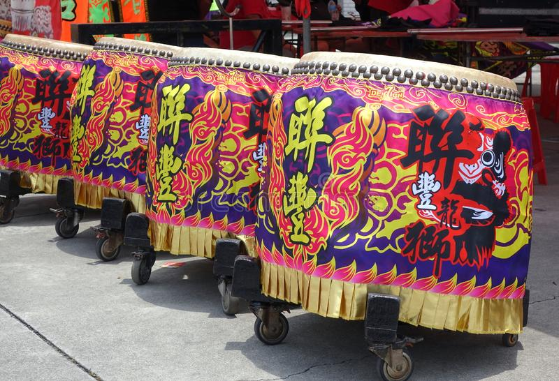 Large Decorated Chinese Drums royalty free stock photography