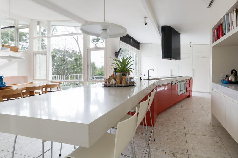 Download Large Designer Kitchen In Modern Australian Home With Patio Outl  Stock Photo   Image Of
