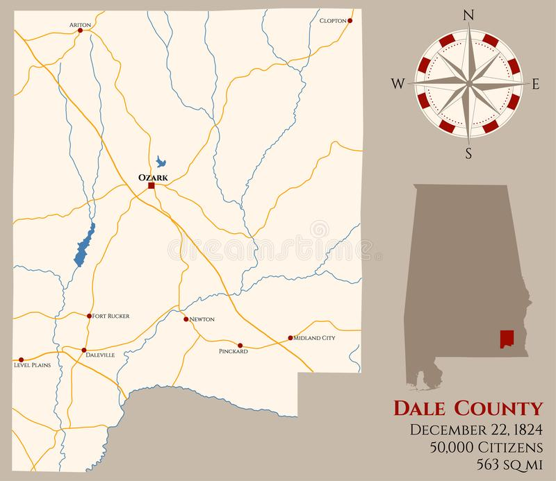 Map of Dale County in Alabama. Large and detailed map of Dale county in Alabama, USA royalty free illustration