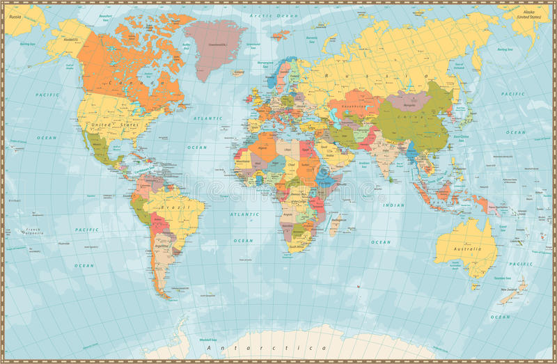 Large detailed vintage color political World Map with lakes and. Rivers. Highly detailed vector illustration of World Map royalty free illustration