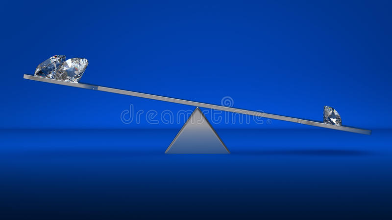Download Large Diamonds On Scales Over Blue Stock Illustration - Image: 15731198
