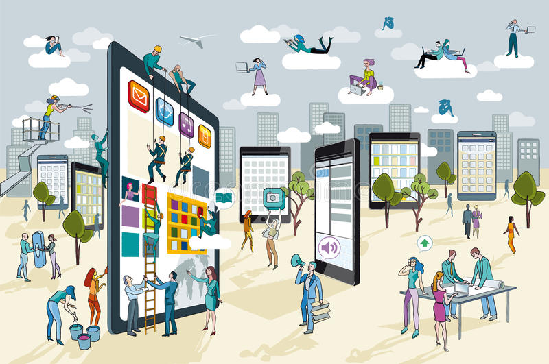 Large Digital Tablet. A team of people work creatively together building giant digital tablets. This are like skyscrapers, and create a city. Other people stock illustration
