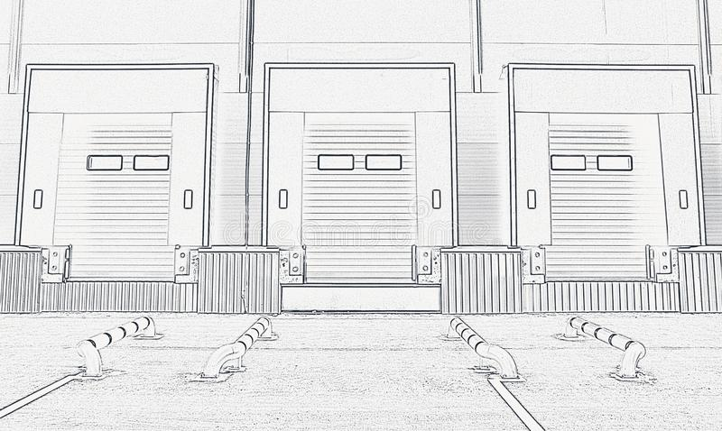 Large distribution warehouse with gates for loading goods. Sketch. Project royalty free illustration