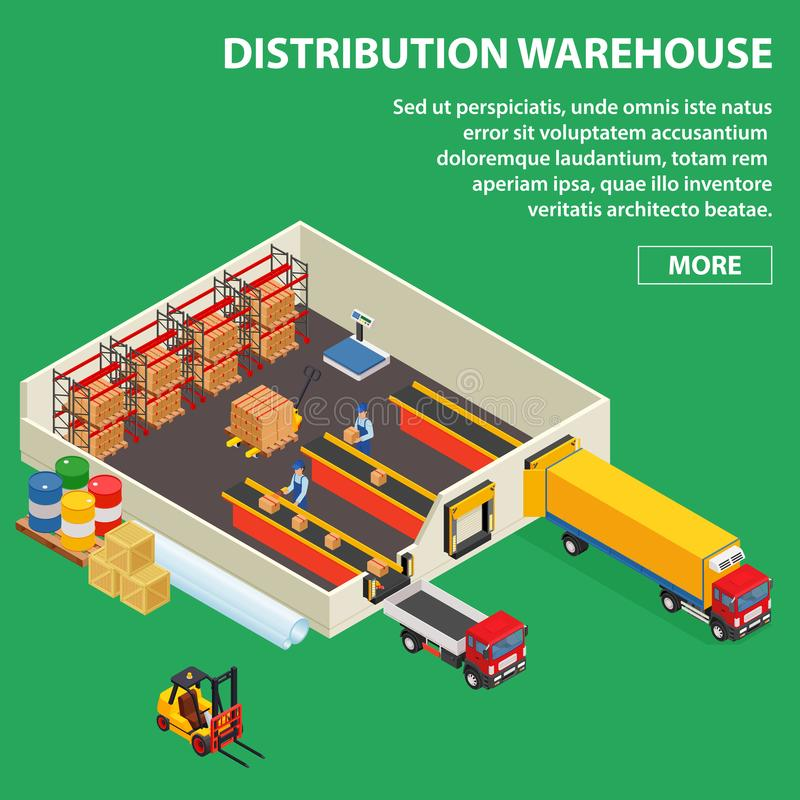 Large distribution warehouse with workers loading or unloading to trucks. Isometric industrial building. vector illustration