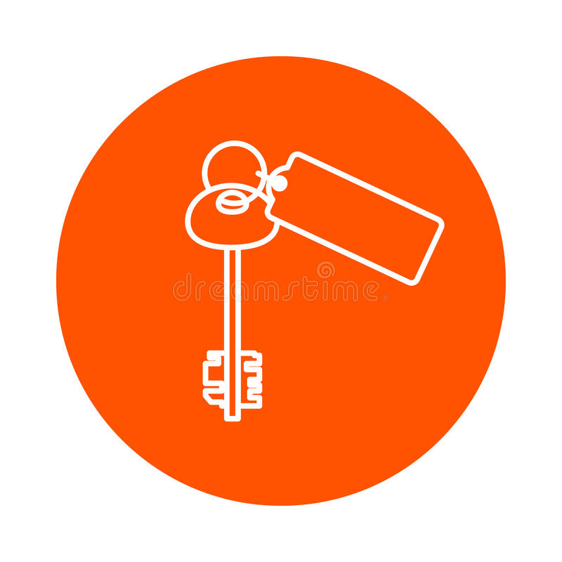 Large door key with keychain, round monochrome icon, flat style.  stock illustration