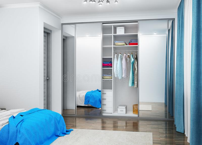 Large double bedroom with wardrobe. 3D illustration royalty free stock photo