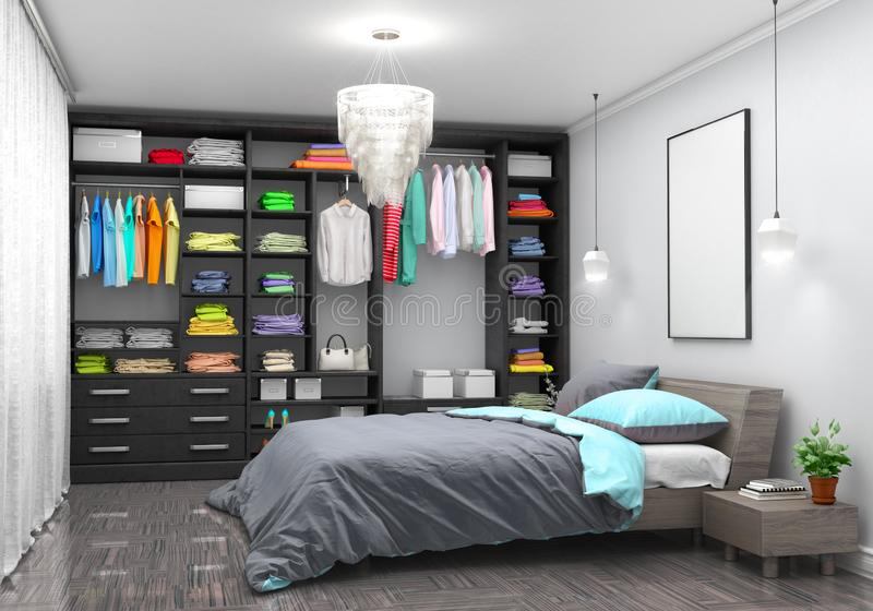 Large double bedroom with wardrobe. 3D illustration royalty free stock image