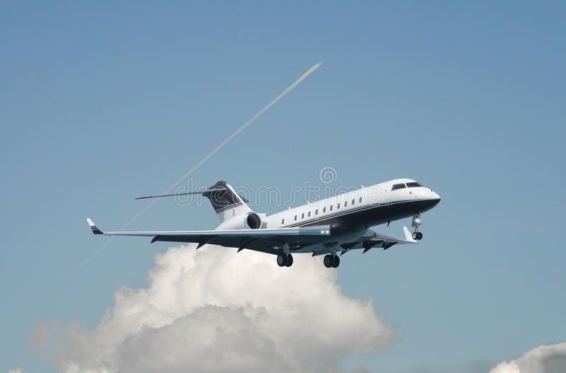 Large double engine business jet royalty free stock image