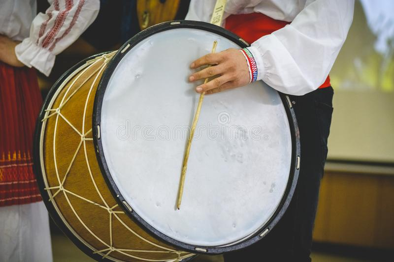 Large double headed drum, bulgarian traditional instrument. royalty free stock photo