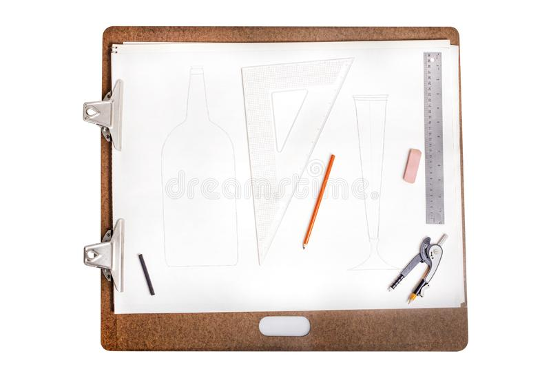 Large Drawing Sketch Pad And Board, Charcoal Pencil, Eraser, Ruler, Drawing Compass, Geometry Triangle Tool stock photos