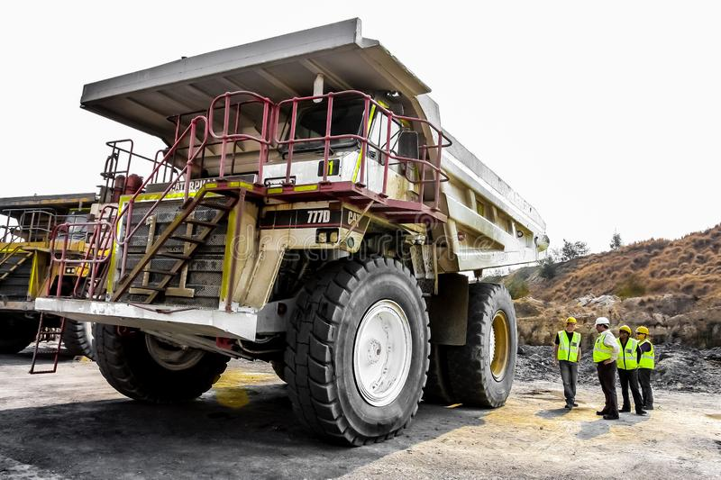 Large Dump Trucks transporting Coal ore for processing royalty free stock photography