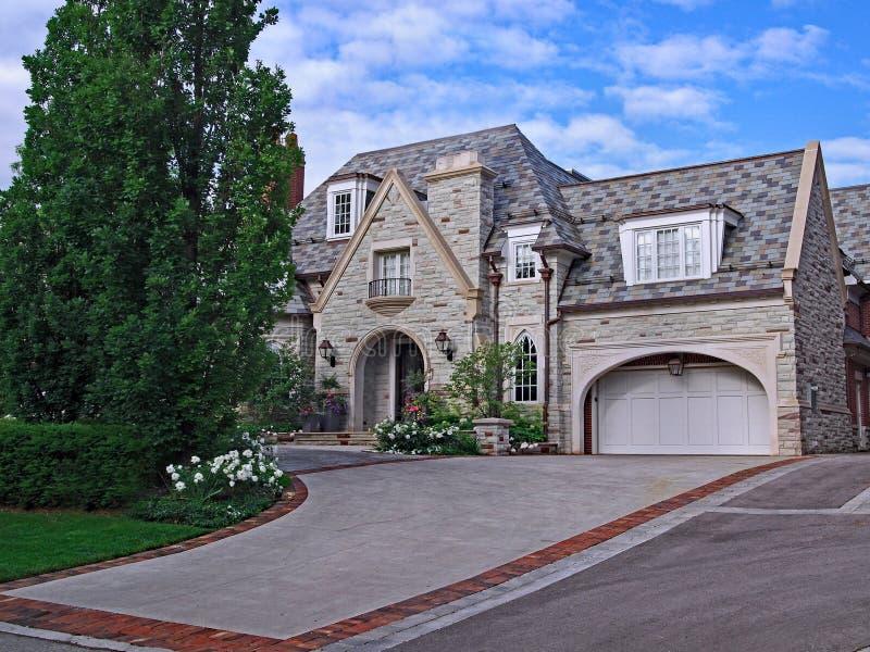 Large elegant stone house stock photo
