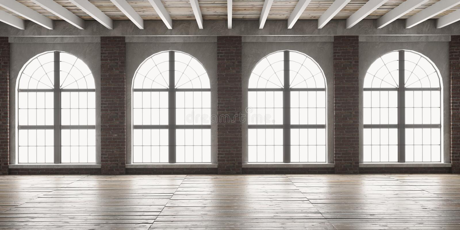 Large empty room in loft style stock image