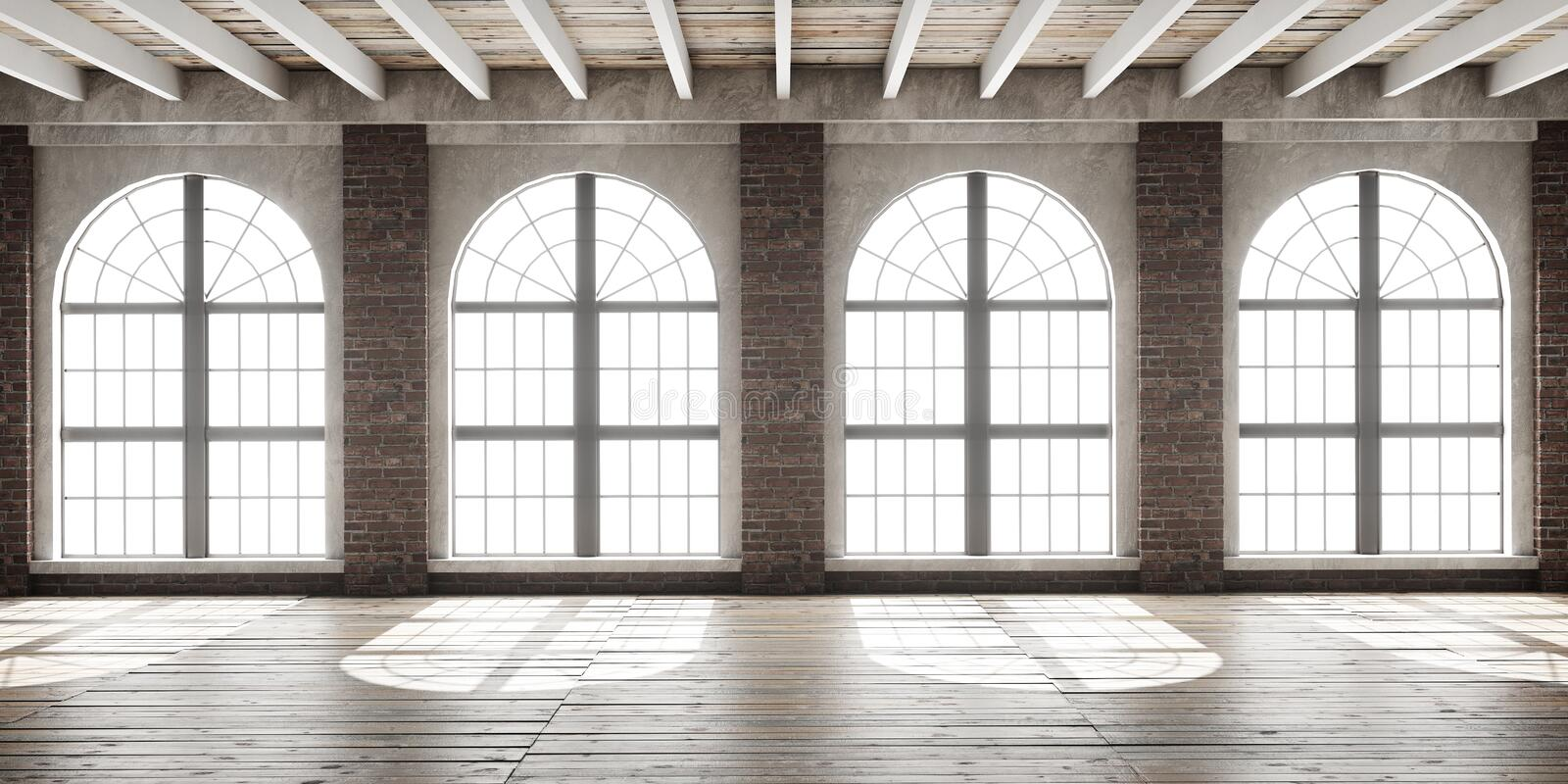 Large empty room in loft style royalty free stock images