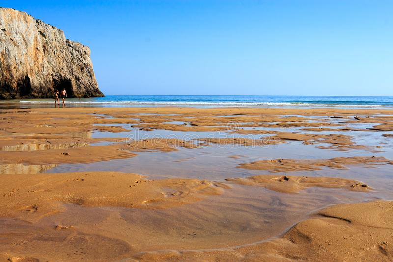 Large, empty sandy beach in Portugal royalty free stock photos