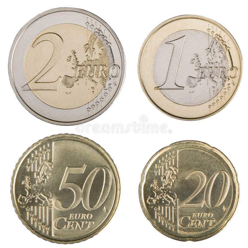 Large Euro Coins. Close-up of uncirculated 1 and 2 Euro and 20 and 50 Euro cent coins royalty free stock photos