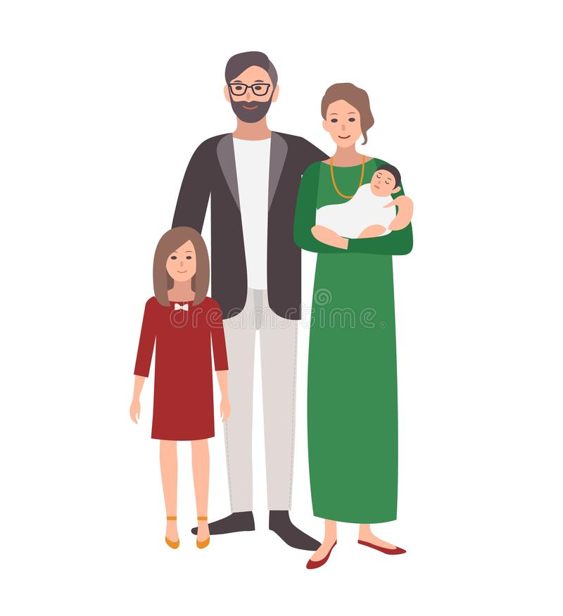 Large european or caucasian family. Father, mother holding baby and teenage daughter standing together. Funny flat stock illustration