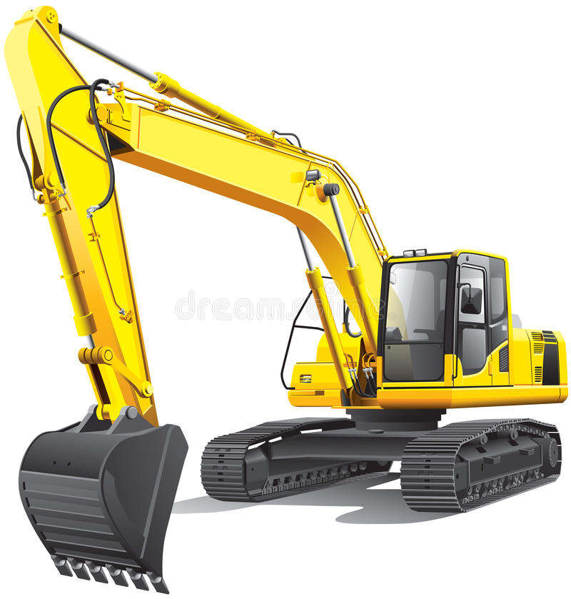 Large excavator. Detailed vectorial image of large yellow crawler excavator, isolated on white background. File contains gradients. No blends and strokes vector illustration