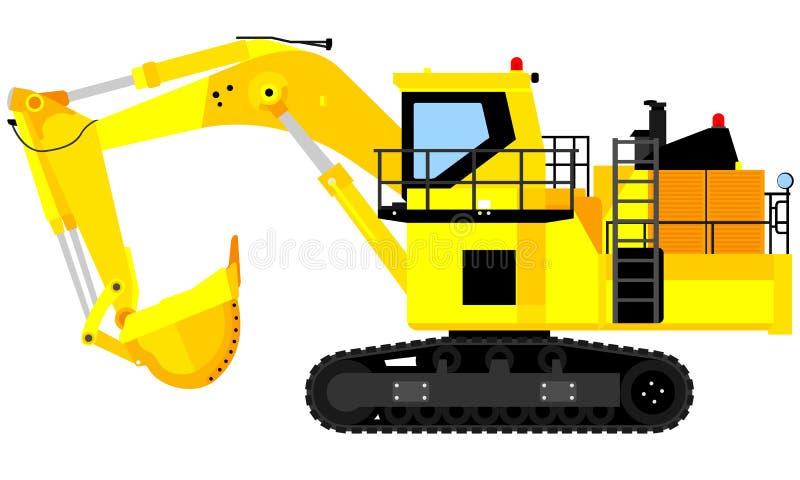 Large excavator illustration. Illustration of large excavators for mining and development projects vector illustration