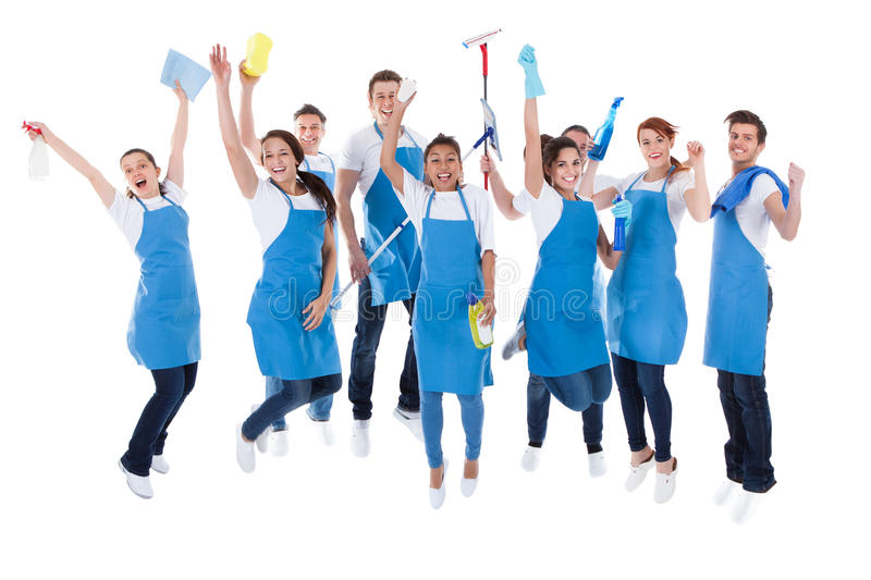 Large excited group of diverse janitors royalty free stock image