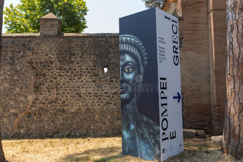 The large exhibition Pompei ei Greci Pompeii and the Greeks  Pompei ei Greci in ancient city of Pompeii,. Pompeii, Italy - June 15, 2017: The large exhibition royalty free stock image