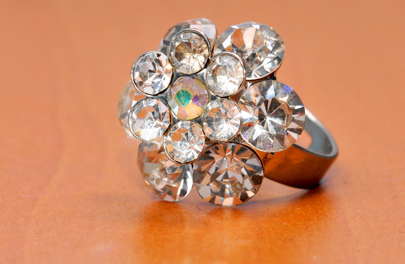 Large and expensive diamond ring jewellery stock photo