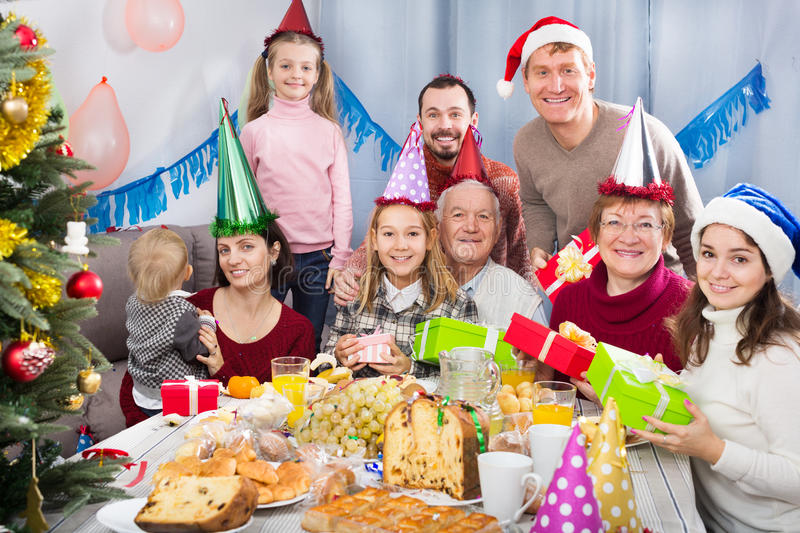Large family happy to see each other stock photography