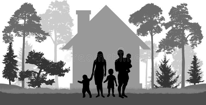Large family man, woman and three children is near the house stock illustration