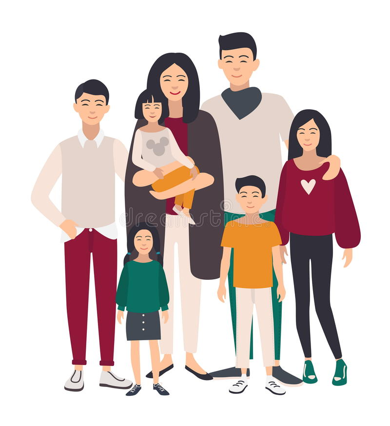 Large family portrait. Asian mother, father and five children. Happy people with relatives. Colorful flat illustration. vector illustration