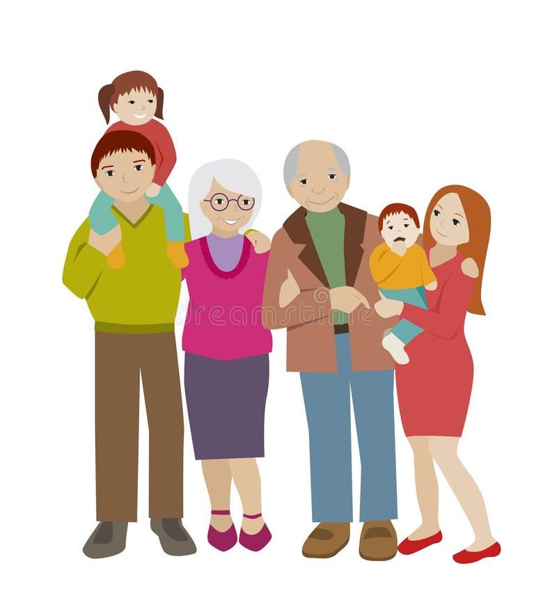 Large family portrait. Flat cartoon vector. vector illustration