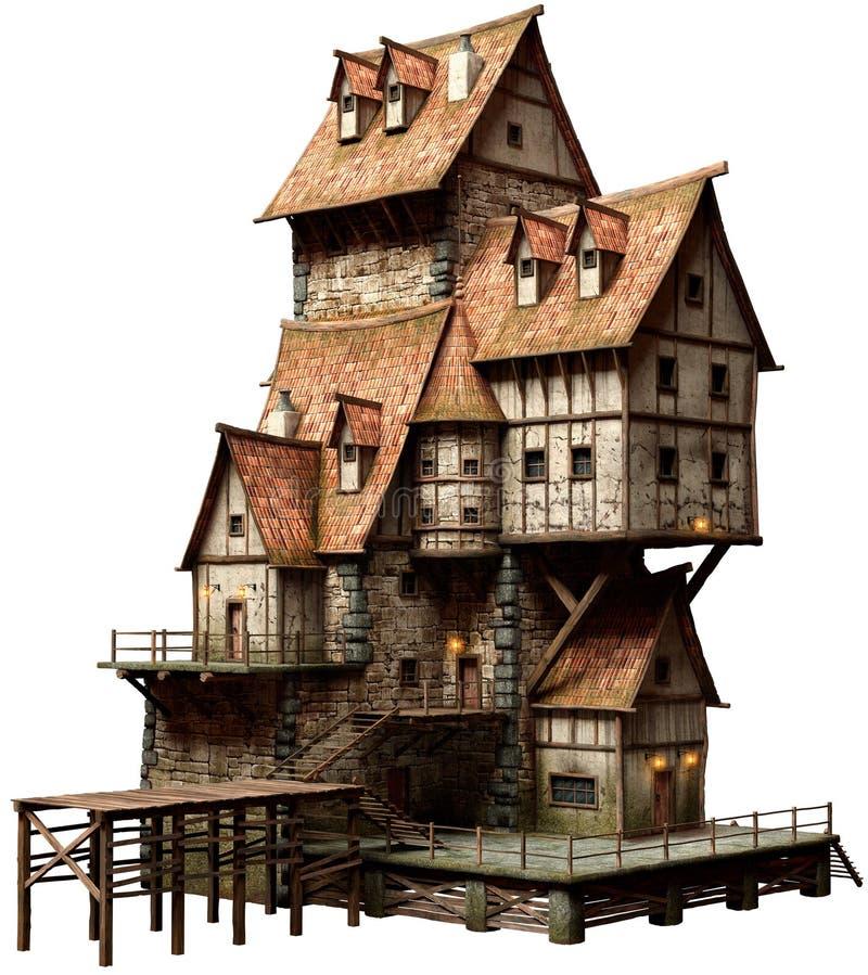 Large fantasy building 3D illustration royalty free illustration