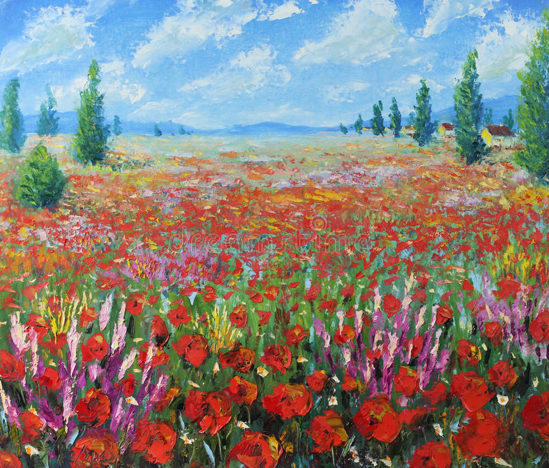 A large field of red flowers, clouds. Original oil painting a large field of red flowers, clouds on canvas. Impasto artwork. Impressionism art vector illustration