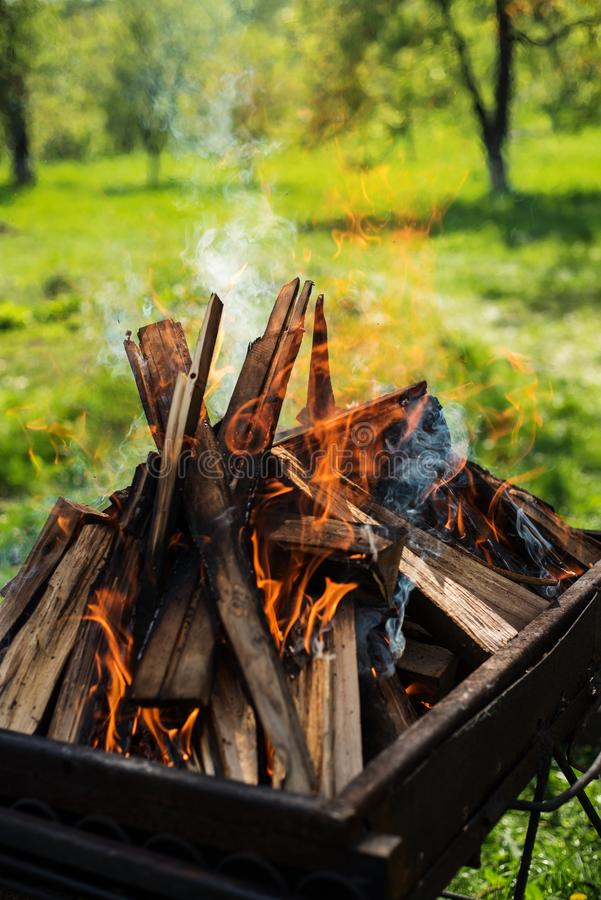 Large firewood. Prepared for barbecue in nature royalty free stock image