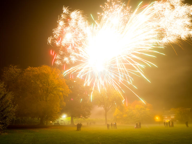 Large Fireworks explosion. Over spectators royalty free stock photography
