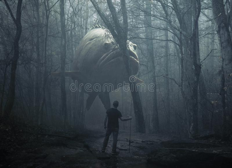 Large fish in the forest. A man tries to catch a large fish in the forest stock images