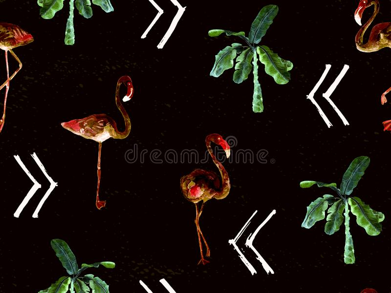 Large flamingo green hawaiian seamless pattern. Large flamingo hipster green hawaiian seamless pattern. Spring saturated watercolor t-shirt print. Minimalistic royalty free stock photo